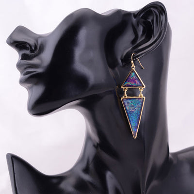 Pythagorean Dangle Earrings - Large spectacular geometric triangular earrings.