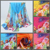 Beautiful chiffon scarves with peacock feather designs in a variety of vibrant colours.