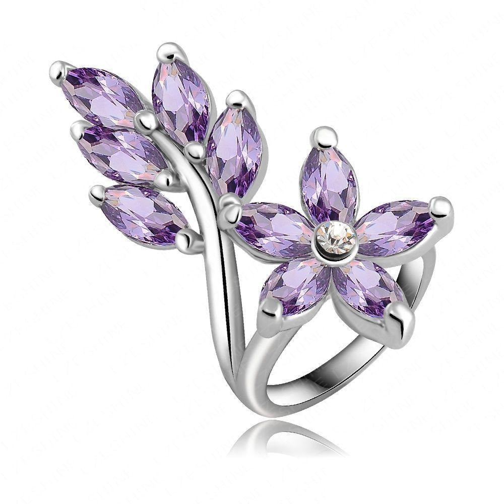LZESHINE Spring Blossom Cocktail Ring - A large floral statement ring with beautiful purple stones.