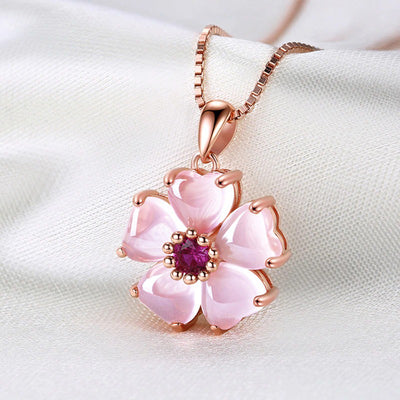 The Freya Necklace - A lovely delicate pink opal pendant studded with crystals.