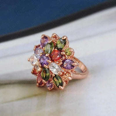 Bijoux Explosion Multi-Stone Cocktail Ring - A large, vibrant statement ring with rainbow coloured stones.