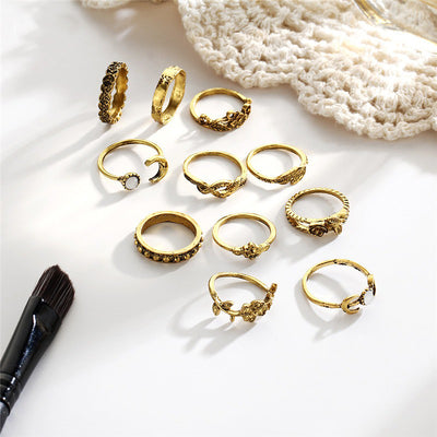 The Astarte Ring Set - A collection of 11 matching finger and knuckle rings.