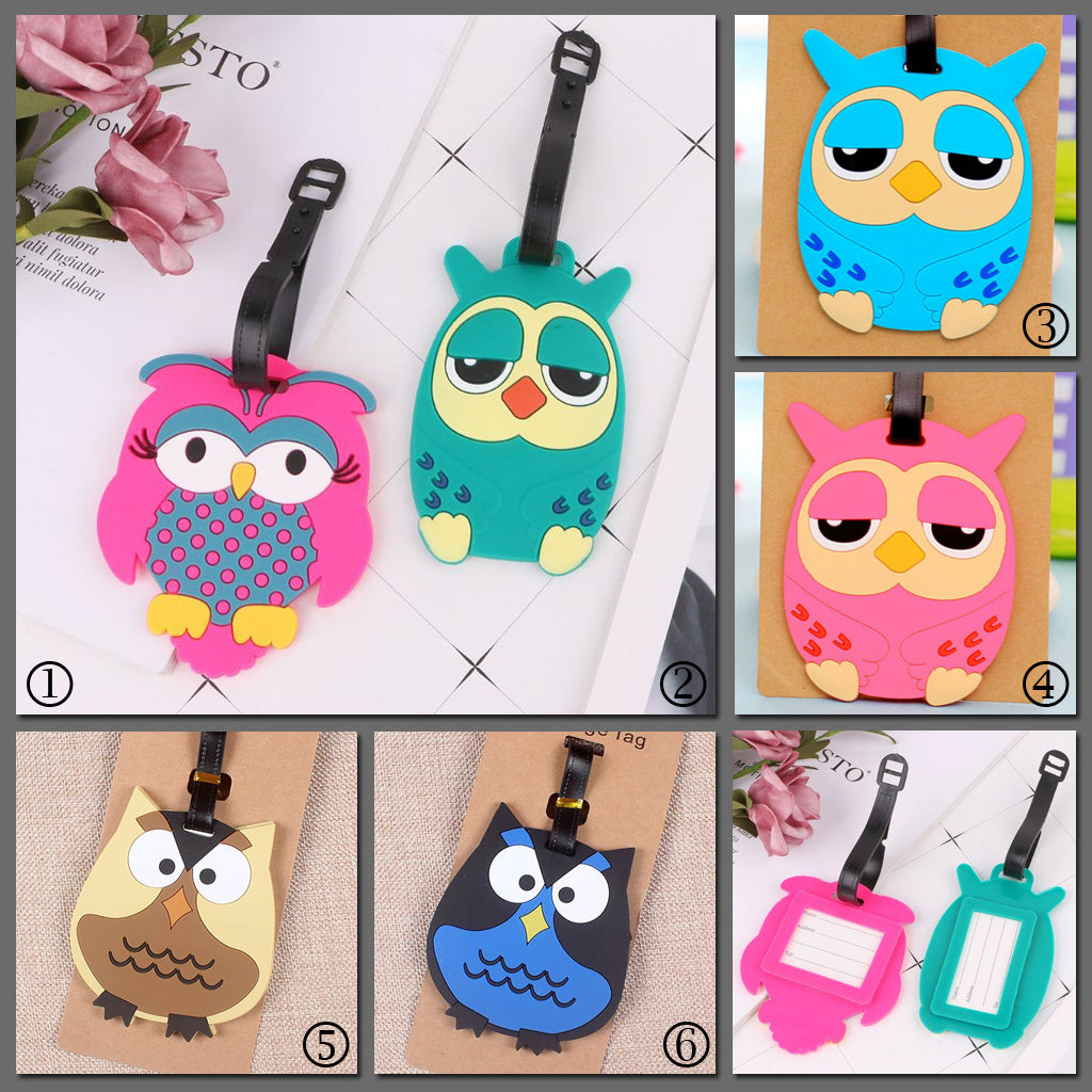 Tiny Wisey Tags - Super adorable luggage tags shaped like owls in shades of pink, blue, green, brown, and navy