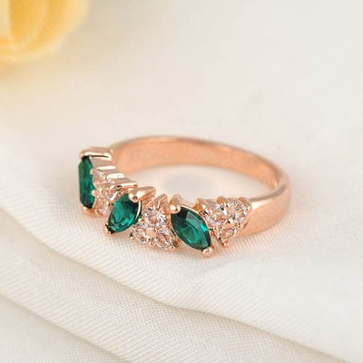 LZESHINE Verdant Cocktail Ring - A lovely rose gold ring with green and white stones.
