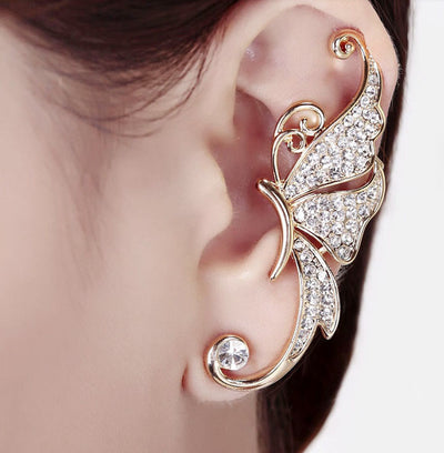 A lovely clip on ear cuff earring with a butterfly theme, in pink or white crystals.