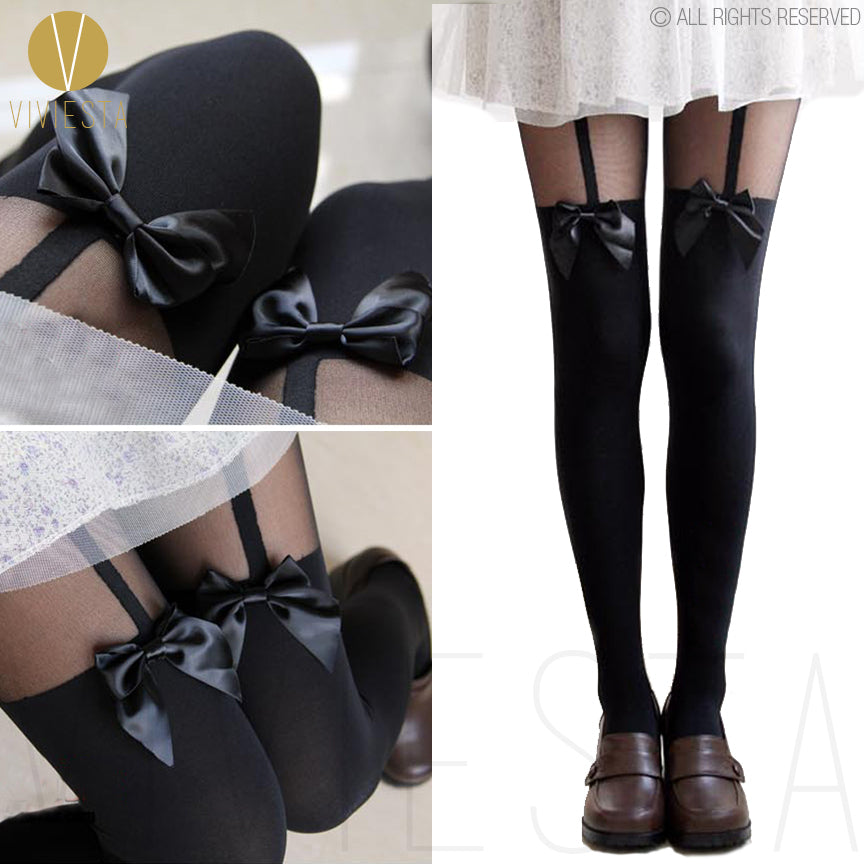 Viviesta Fashion Tights - High Quality High Stretch Mock Thigh Highs With A Cute Bow Suspender Motif