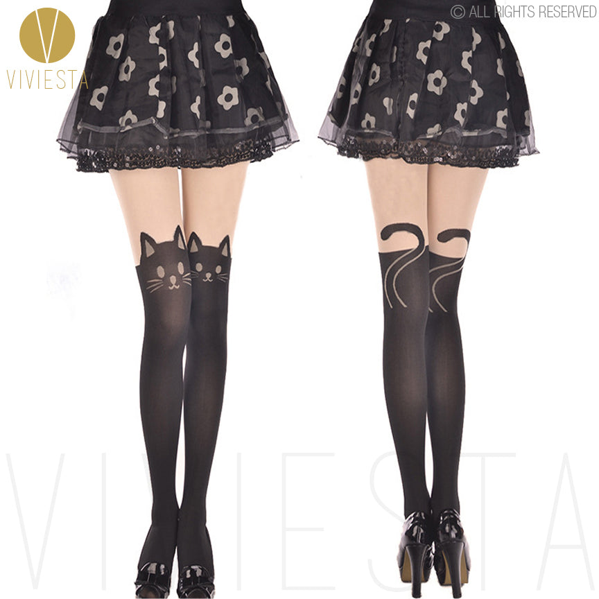 Viviesta Fashion Tights - High Quality High Stretch Mock Thigh Highs With A Cute Kitty Motif
