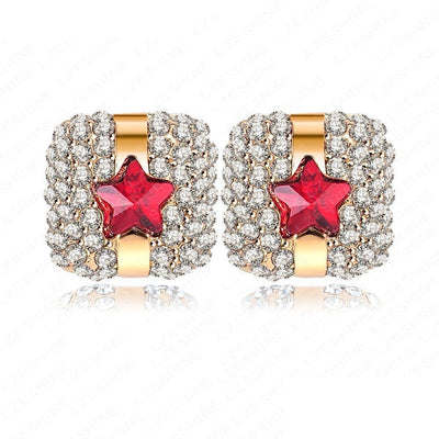 LZESHINE Razzle-Dazzle Earrings - Adorable little earrings that look like gifts.