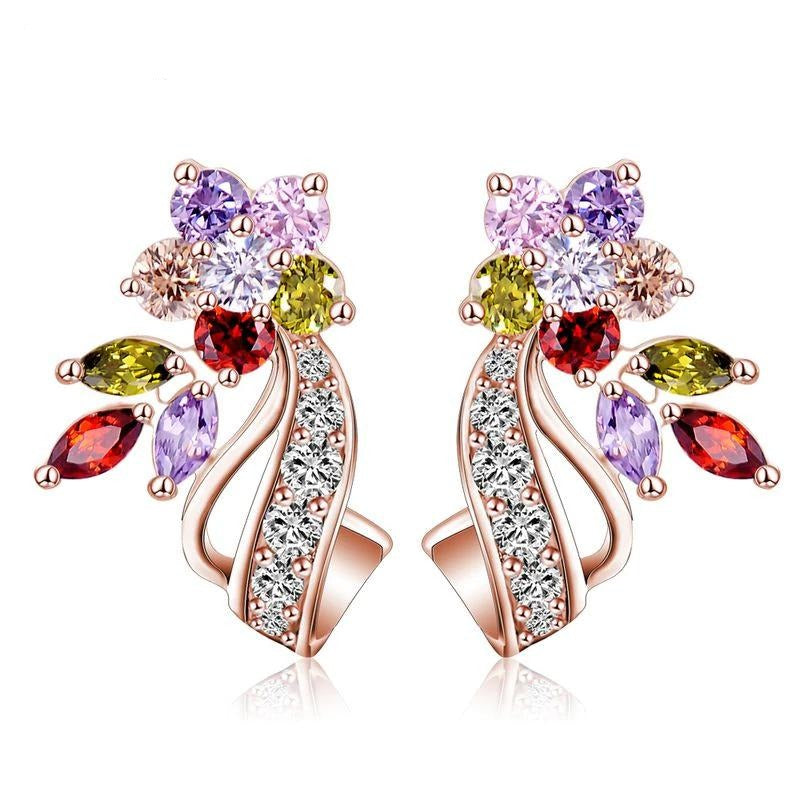 Bijoux Comet Earrings - Beautiful multi-coloured earrings with real gold and Swarovski Elements Crystals.