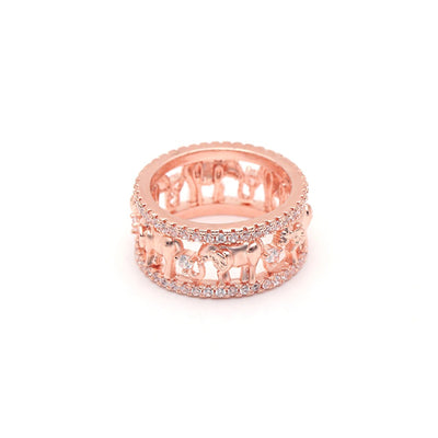 The Lucky Elephant Ring - A chunky, elephant themed ring studded with lovely crystals.