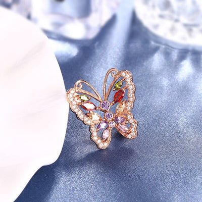 Roxi Psykhe Brooch - A beautiful rose gold butterfly brooch with Swarovski crystals.