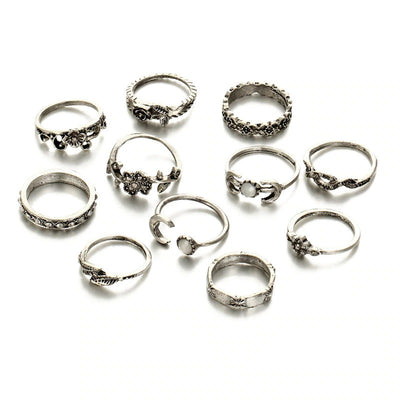 The Antd Ring Set - A collection of 11 matching finger and knuckle rings.