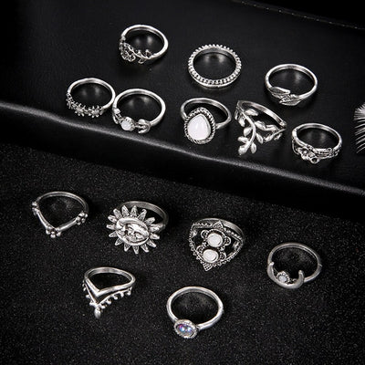 The Artemis Ring Set - A collection of 14 matching finger and knuckle rings.