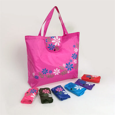 Eco-Warrior Folding Purse Tote - Cute reusable shopping bag in lots of bright colours with a flower motif