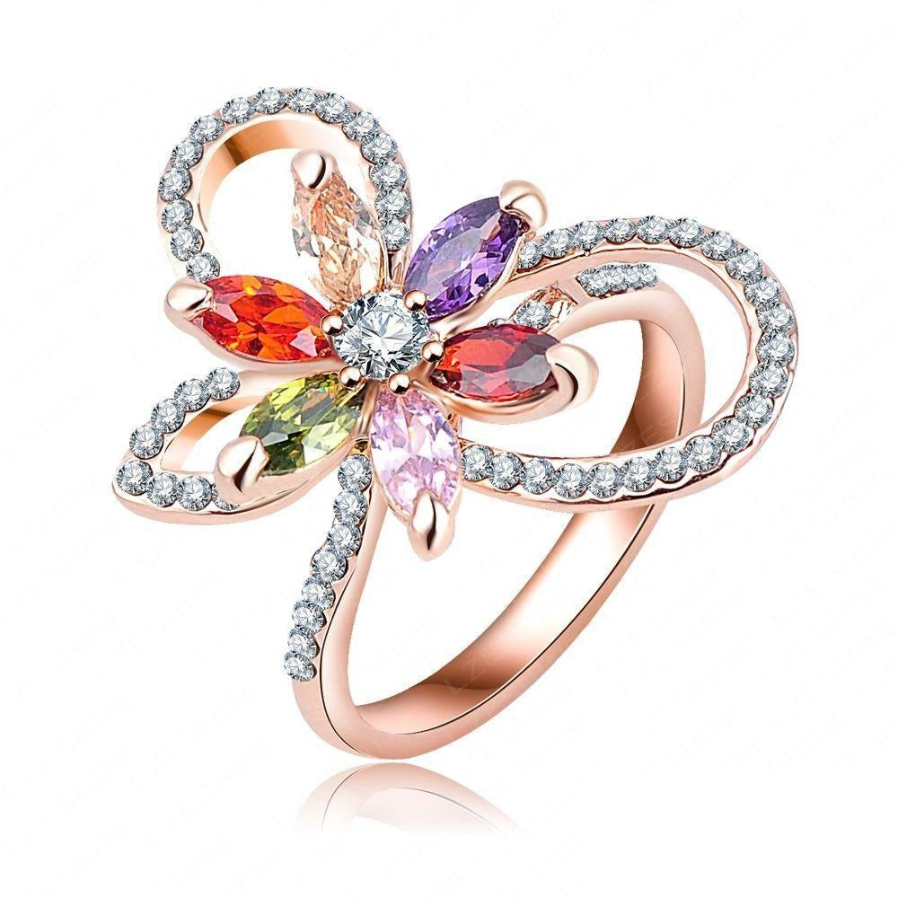 Multi-Stone Bow Cocktail Ring - A stunning delicate ribbon themed ring.