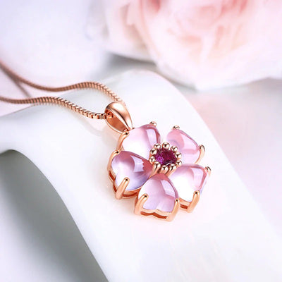 Moonrocy Freya Necklace - A lovely delicate pink opal pendant studded with crystals.