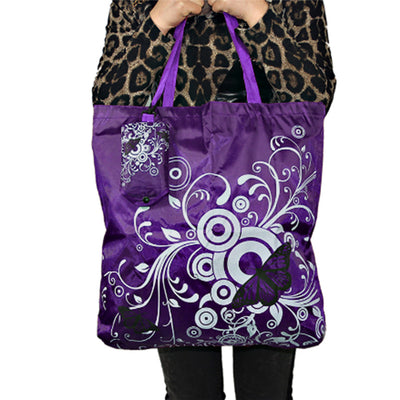 Chaos Theory Tote - Large foldable reusable shopping bag with a butterfly motif in a rainbow of colours
