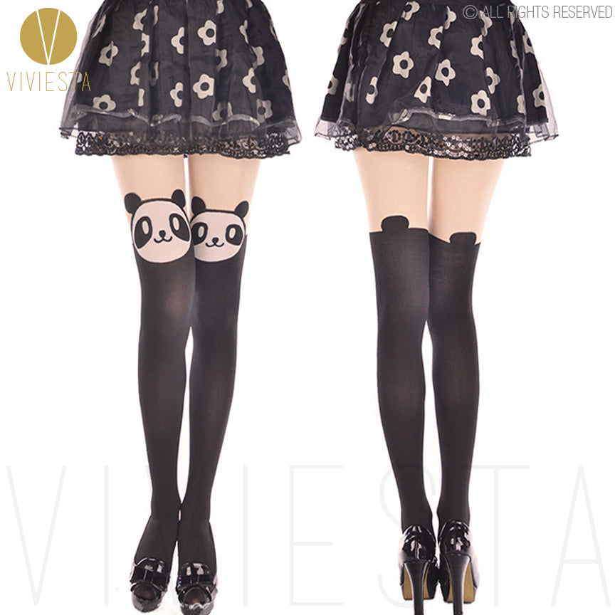Viviesta Fashion Tights - High Quality High Stretch Mock Thigh Highs With A Cute Panda Motif