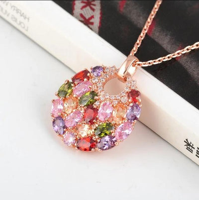LZESHINE Multi-Stone Bijoux Necklace - A lovely rose gold pendant studded with a rainbow of crystals.