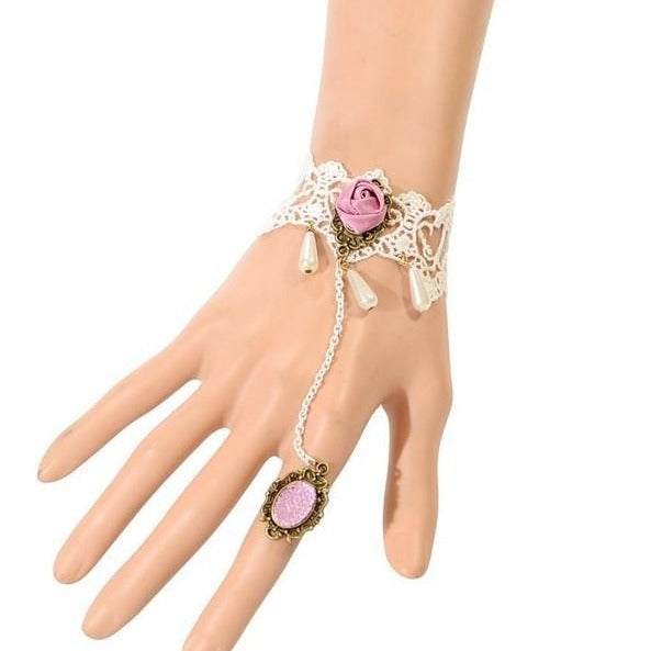 The Samantha Cuff - A white and pink lace dancing cuff with bracelet and attached ring.