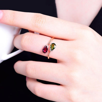 LZESHINE Dual Droplet Adjustable Ring