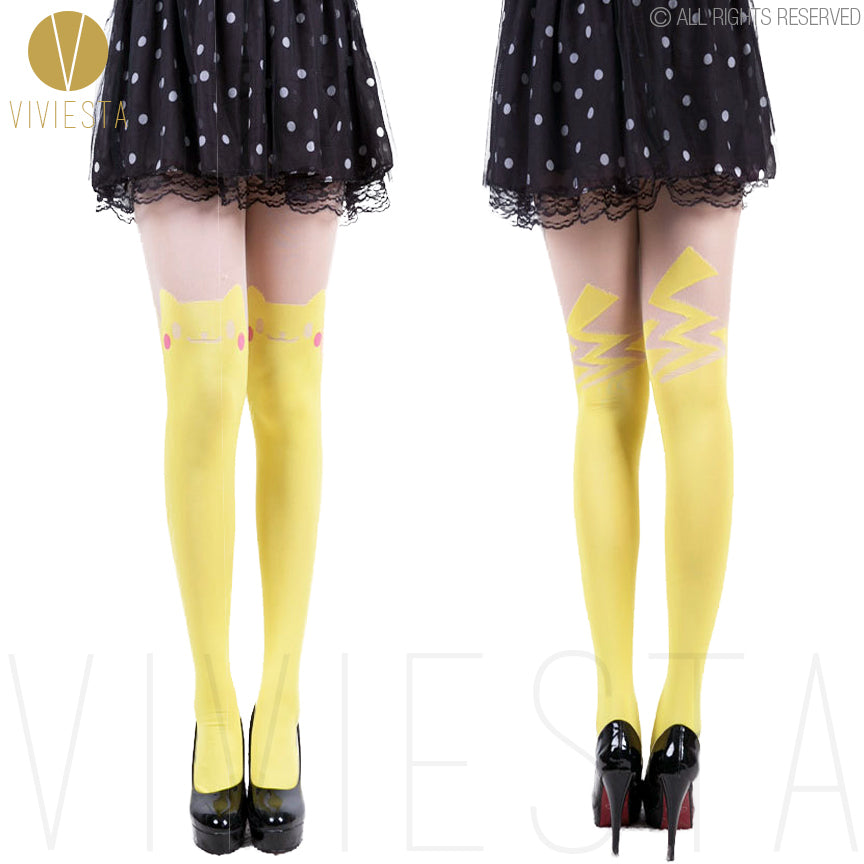 Viviesta Fashion Tights - High Quality High Stretch Mock Thigh Highs With A Pikachu Pokemon Motif