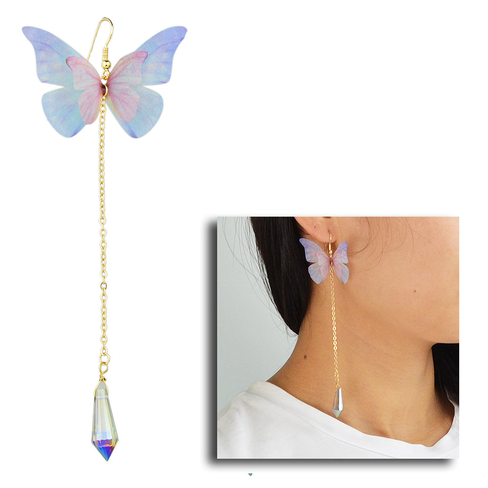 The Lilac Flutter Earring - A delicate purple fabric butterfly earring with a long crystal tail.