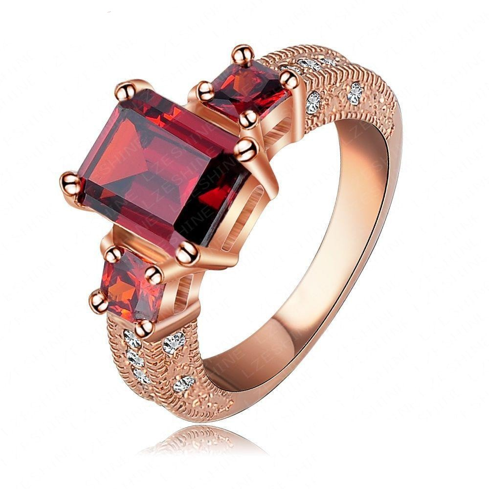 Red Velvet Ring - An elegant statement ring with a large square-cut red stone.