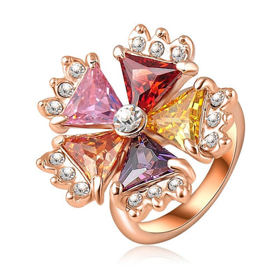 LZESHINE Multi-Stone Blossom Cocktail Ring - A large multi-coloured statement ring.