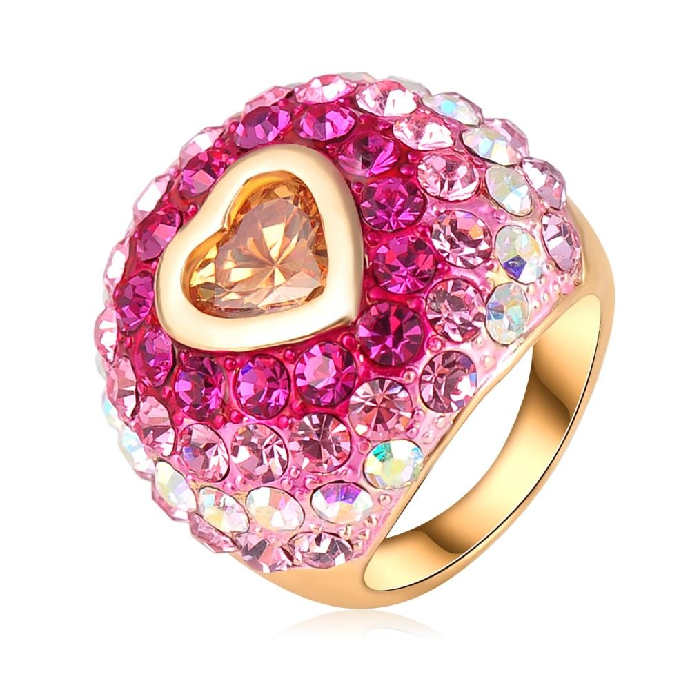 LZESHINE Be Bold Cocktail Ring - A large statement ring with vivid pink crystals.