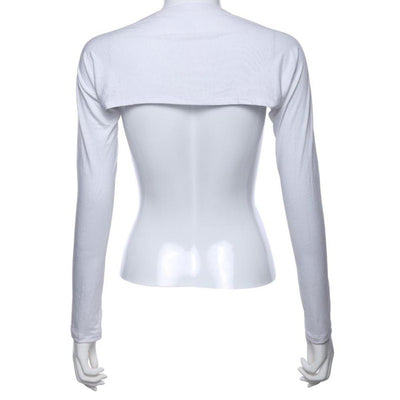 Simple white cotton modal bolero/shrug-style modesty sleeves for the Muslim hijabi woman.