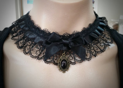 The Victoria Choker - A black lace and ribbon choker with a simple black pendant.