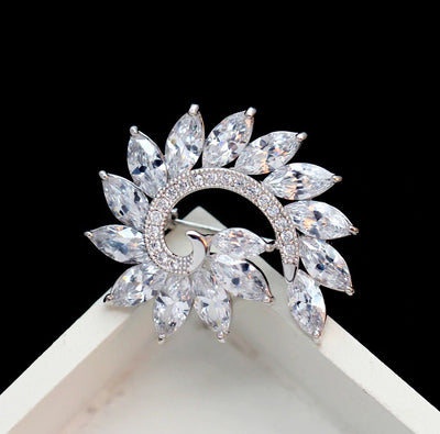 The Radiance Brooch - Fibonacci - A stunning crystal brooch shaped like a spiral.