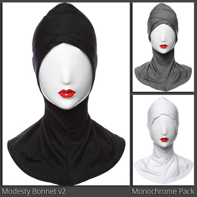 Modesty Bonnet v2 - A cross-over designed hijab under cap designed to be worn under a scarf, available in 20 colours.