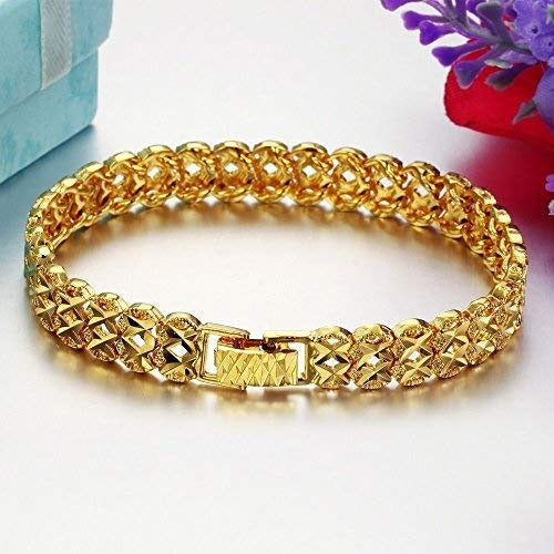 Geometric Glamour Link Bracelet - A beautiful, high-quality yellow gold plated tennis bracelet