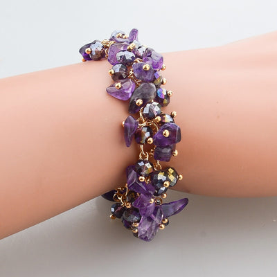 Beaded Crystal Bracelet - A cute bracelet made of natural amethyst crystals and beads.