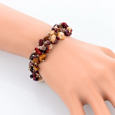 Beaded Crystal Bracelet - A cute bracelet made of natural jasper crystals and beads.