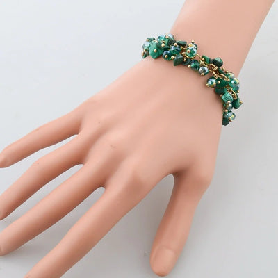 Beaded Crystal Bracelet - A cute bracelet made of natural malachite crystals and beads.