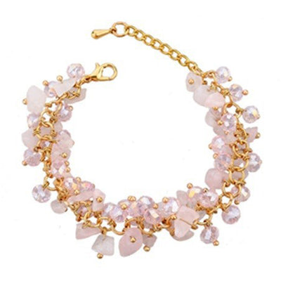 Beaded Crystal Bracelet - A cute bracelet made of natural rose quartz crystals and beads.
