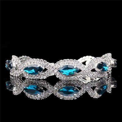 The Zahra Bracelet - A lovely, luxurious crystal bracelet with topaz or amethyst and zircon, set against platinum coloured metal.