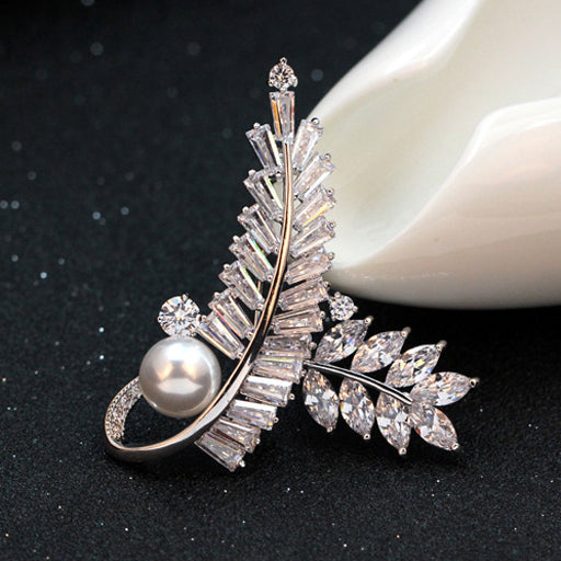 The Radiance Brooch - Fern I - A stunning crystal brooch shaped like a pair of fern fronds.