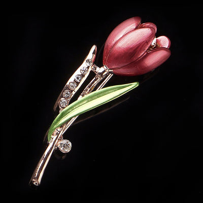 The Florist's Brooch - Tulip - A beautiful enamel flower pin available in red, pink, purple, or blue.