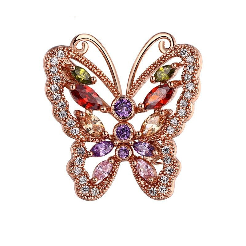 Bijoux Psykhe Brooch - A beautiful rose gold butterfly brooch with Swarovski crystals.