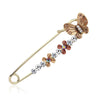 Scarf pins in assorted butterfly designs, gold colour with zircon crystals and colourful enamel.