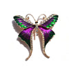 Cute Critters Brooch - Long-Tail Butterfly - A cute green and purple enamel brooch.