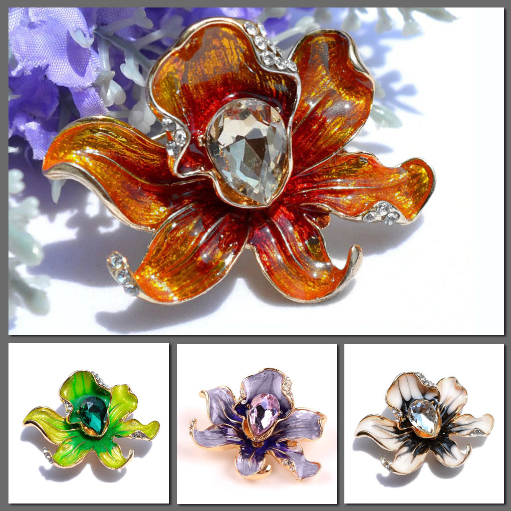 The Florist's Brooch - Orchid - A lovely flower-themed brooch available in orange, green, purple, or white.