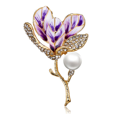 The Florist's Brooch - Magnolia - A lovely flower brooch available in pink or purple.