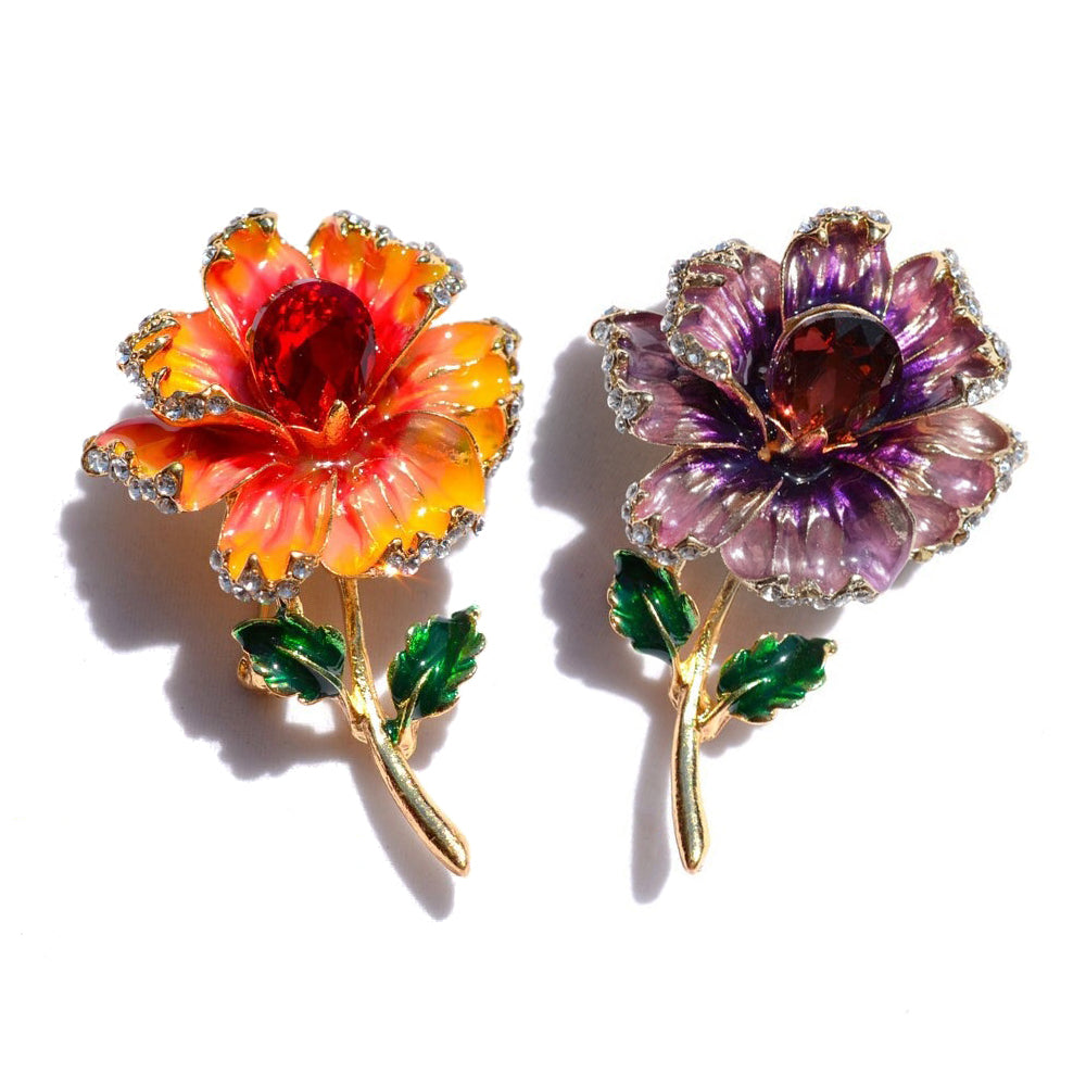 The Florist's Brooch - Primrose - A lovely flower brooch available in purple or orange.