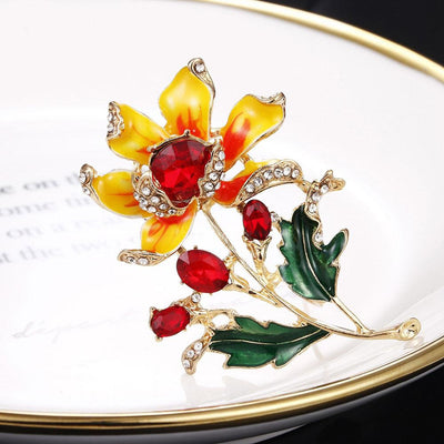 The Florist's Brooch - Jasmine - A lovely enamel flower brooch, available in orange, yellow, pink, or purple.