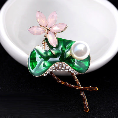 The Florist's Brooch - Lotus - A lovely enamel flower brooch, with pearl and crystal bloom.